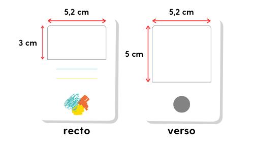 Indications pour les dimensions de nos cartes personnalisables